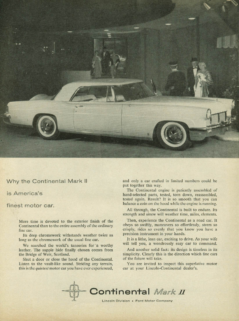 Why Lincoln Continental Mark II is America's finest motor car ad 1957 NW