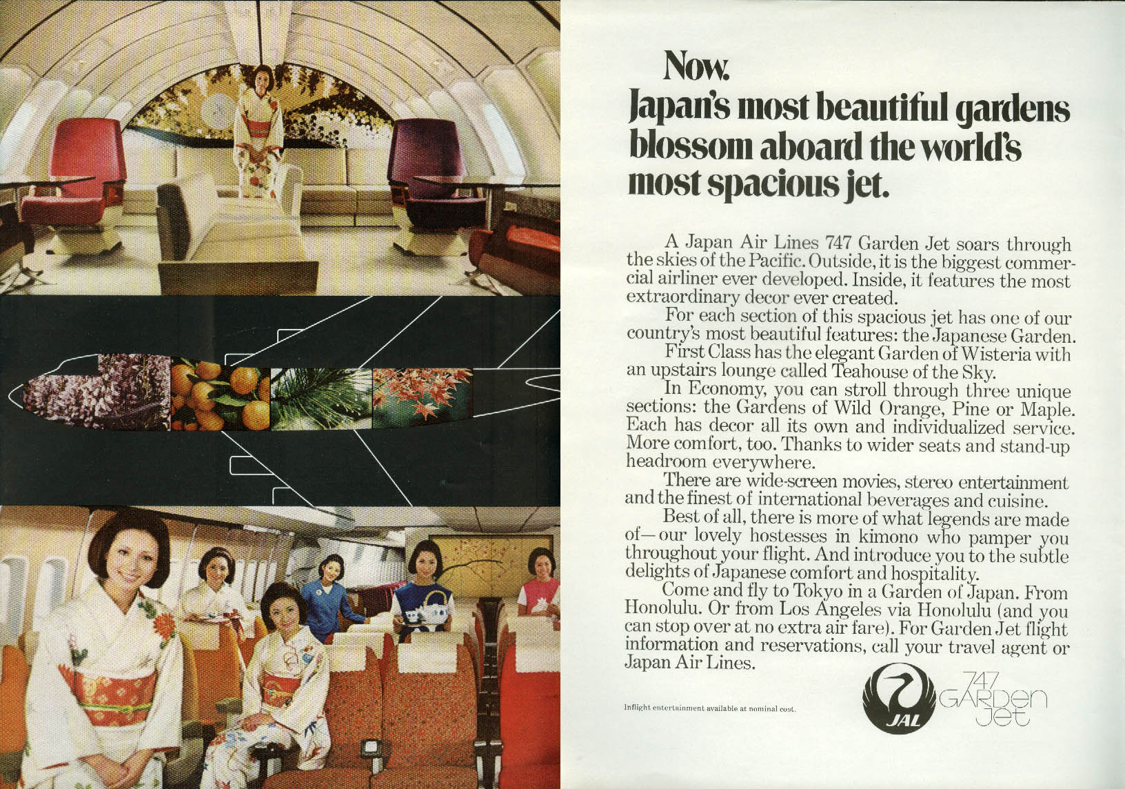 Japan's most beautiful gardens blossom on Japan Air Lines Boeing 747 ad 1970 NY