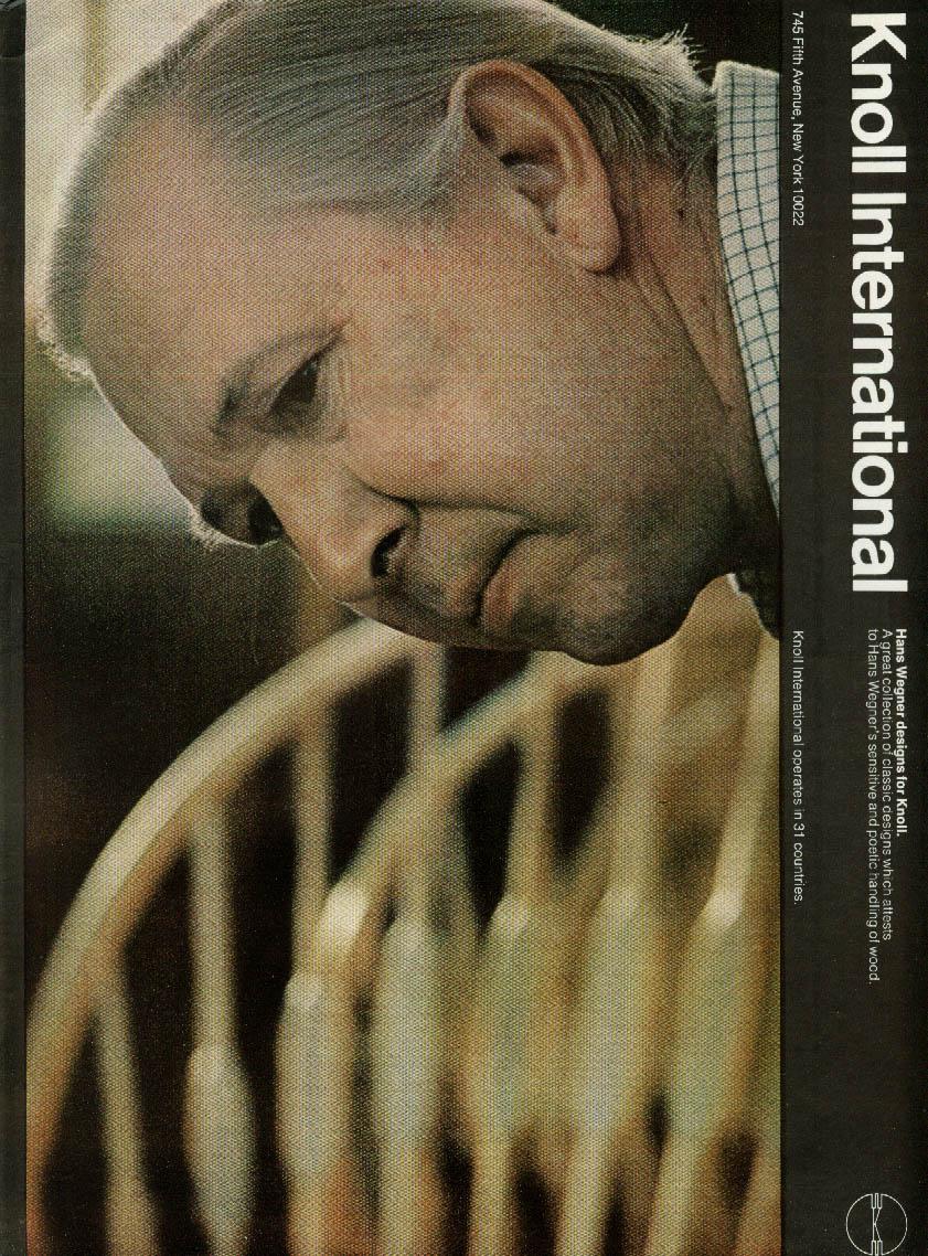 Hans Wegner designs for Knoll International ad 1970 NY