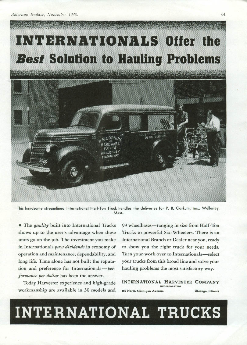 Best Solution to Hauling International Half-Ton Truck Corkum Hardware ad 1938