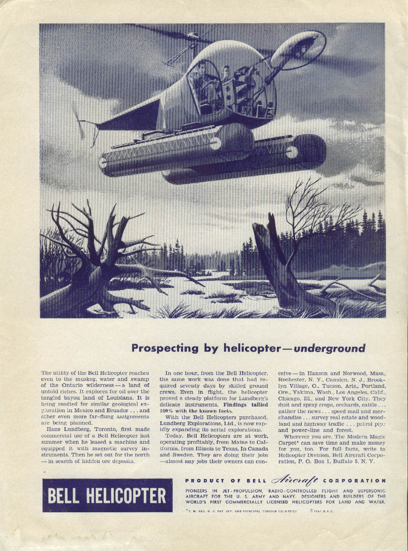 Prospecting by helicopter underground Bell Helicopter ad 1947
