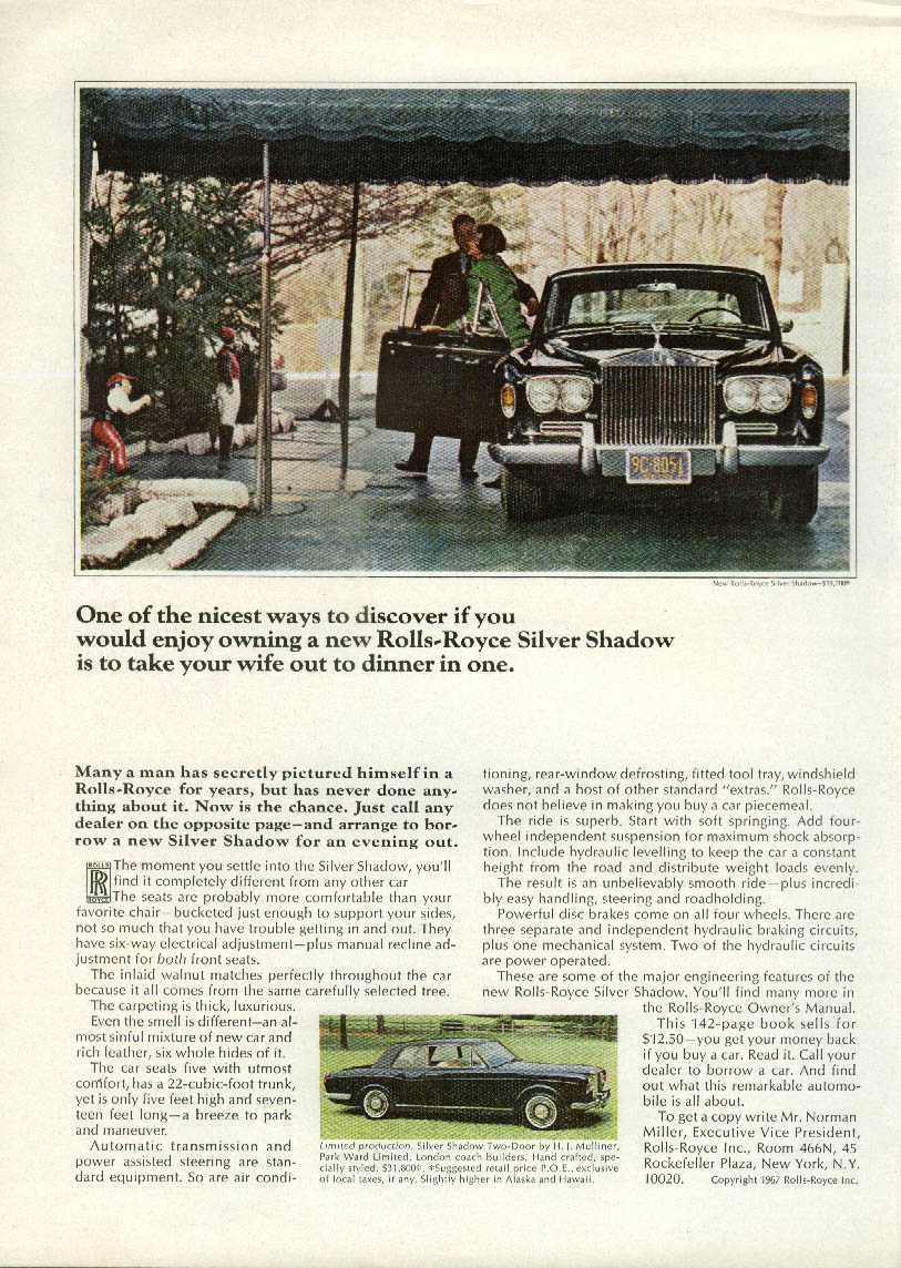 Take your wife to dinner in a Rolls-Royce Silver Shadow ad 1967 NY