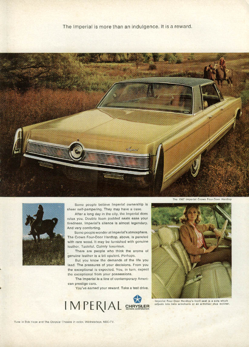 More than an indulgence - it is a reward Imperial by Chrysler ad 1967 NY