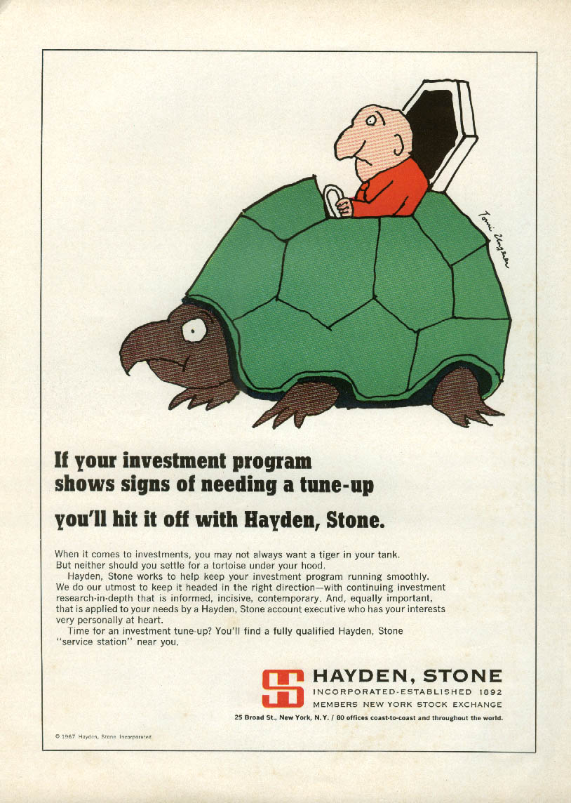 Hit it off with Hayden Stone Investments ad 1967 Tomi Ungerer art