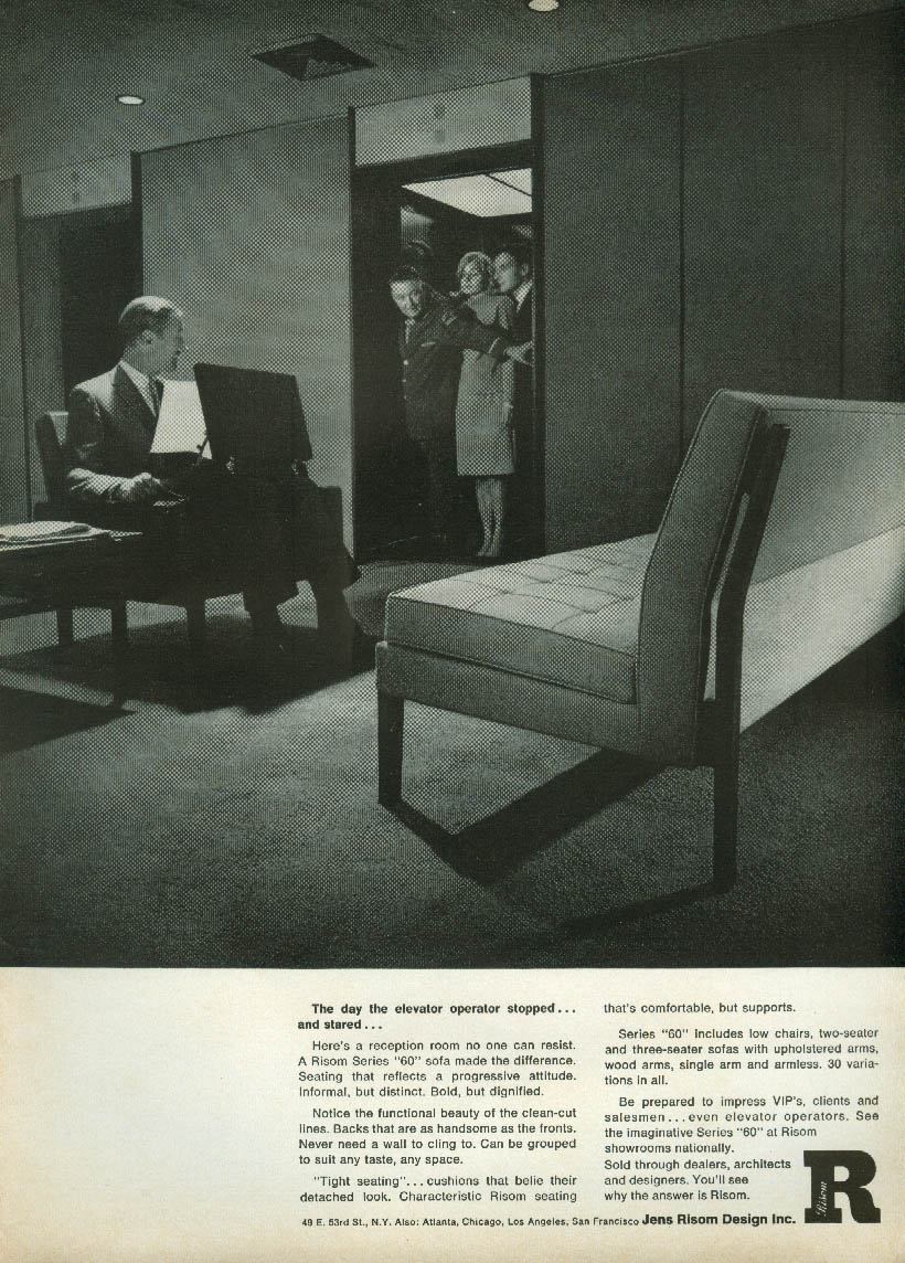 The day the elevator stopped & stared Jens Risom Furniture ad 1966 NY