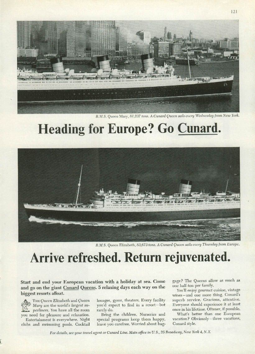 Heading for Europe? Cunard Line R M S Queen Mary & Elizabeth ad 1965