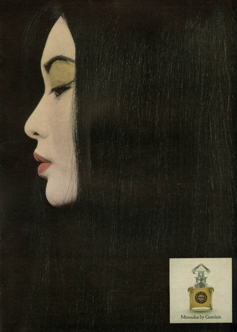 Mitsouko Perfume by Guerlain ad 1965 Japanese profile NY
