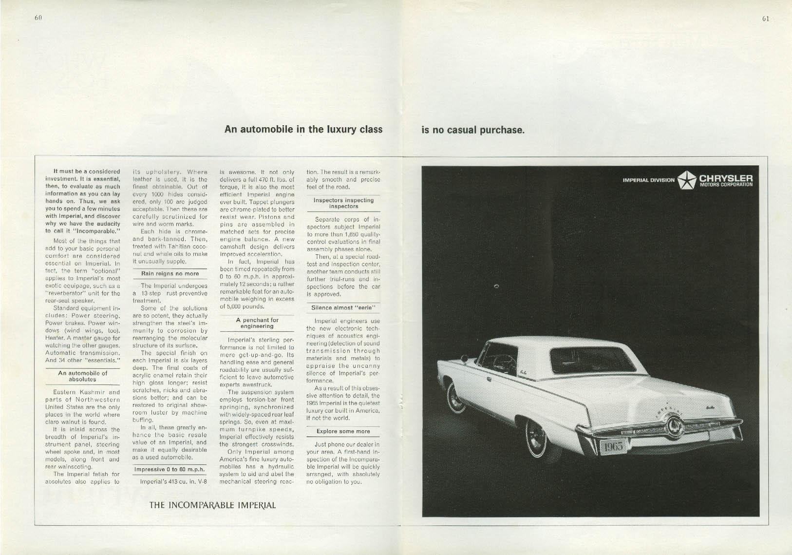 An automobile of luxury is no casual purchase Imperial by Chrysler ad 1965