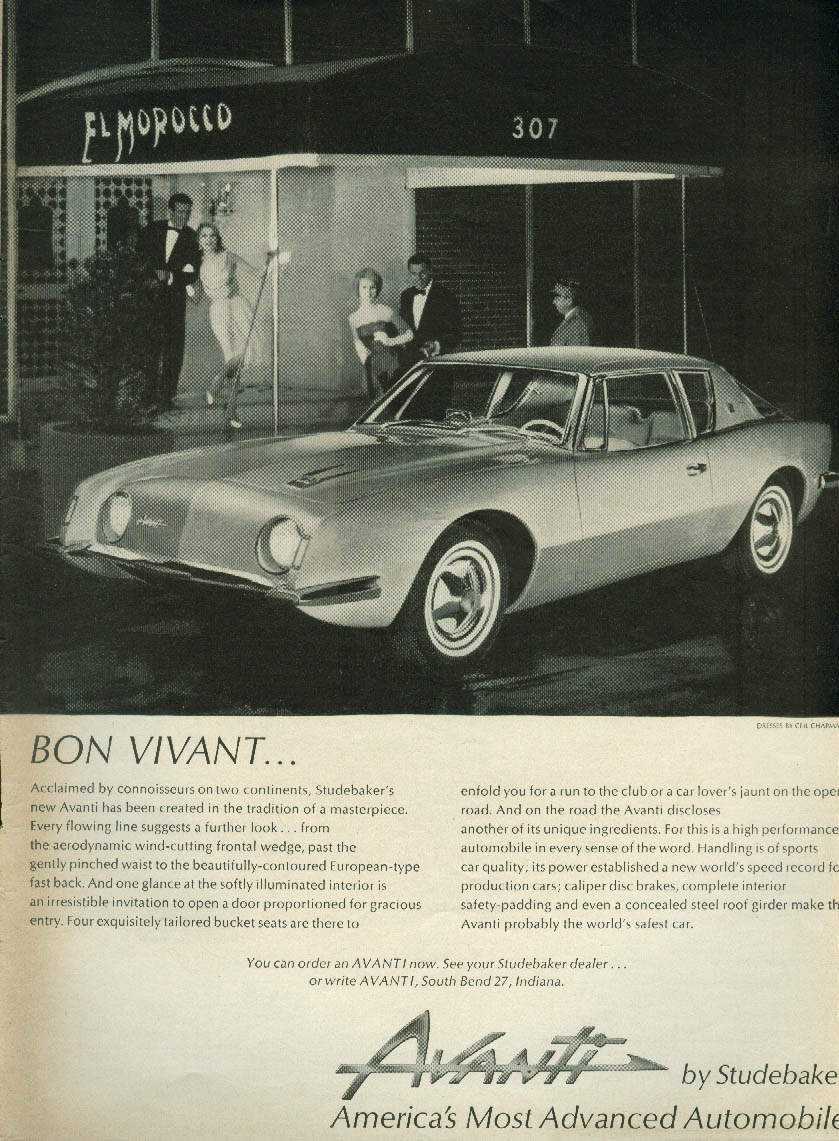 Bon Vivant at El Morocco  - Studebaker Avanti ad 1962 NY
