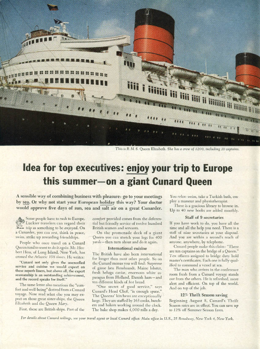 Idea for top executives Cunard Line R M S Queen Elizabeth ad 1963 NY