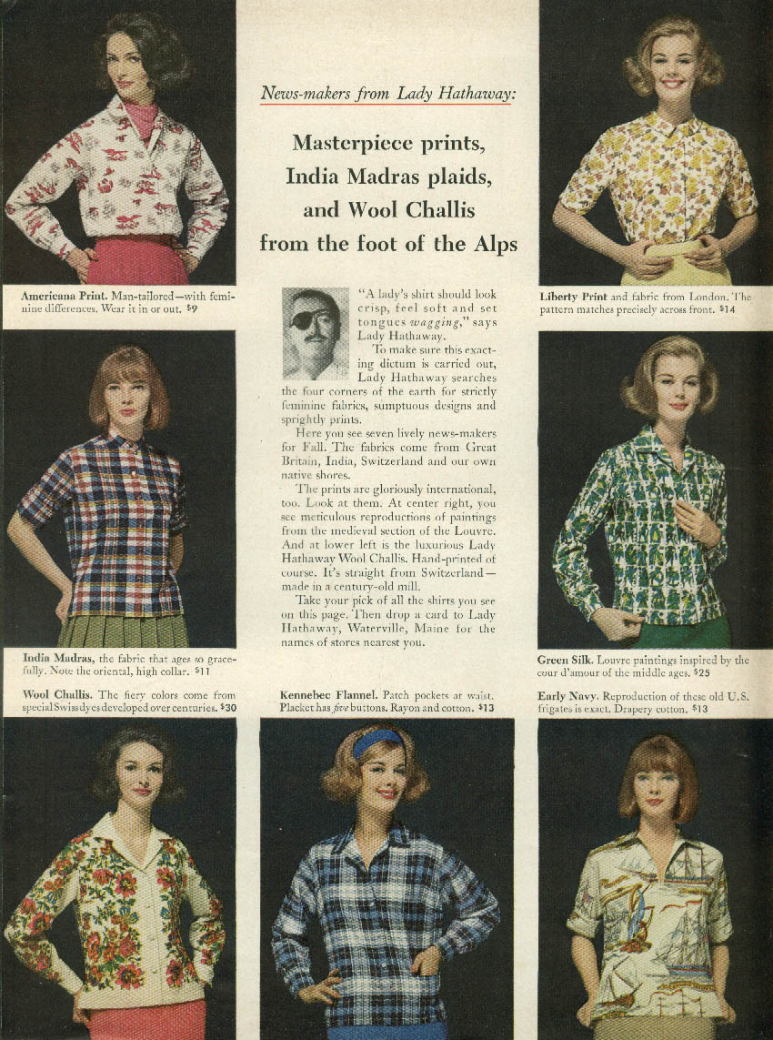 Masterpiece prints Madras plaids Wool Challis Lady Hathaway Shirts ad 1963 NY