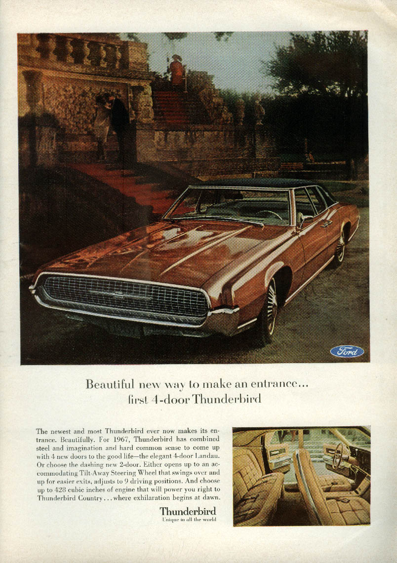 Beautiful new way to make an entrance Ford Thunderbird 4-door ad 1967 NY