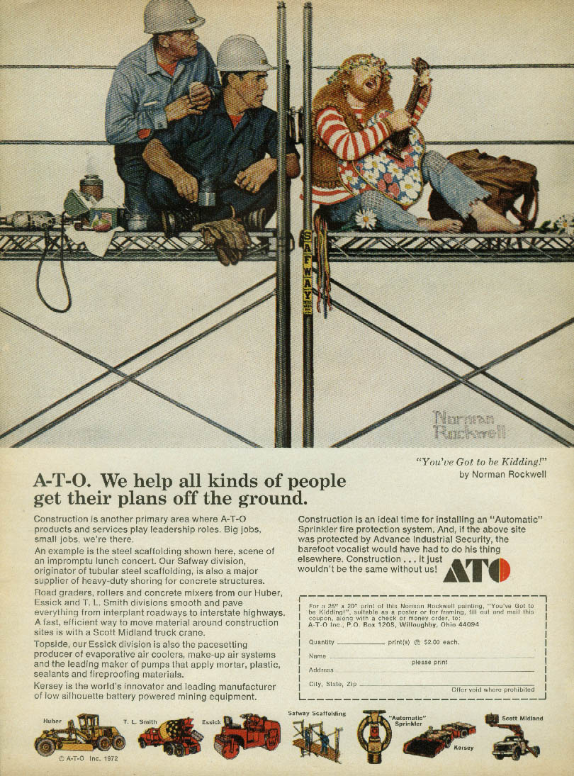 We help all kinds of people A-T-O Construction ad 1972 Norman Rockwell art
