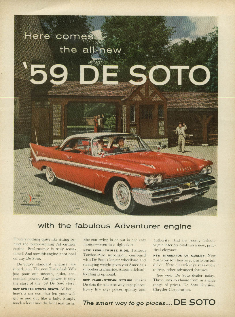 Here comes the all-new 1959 De Soto Fireflite 2-dr HT ad  NW