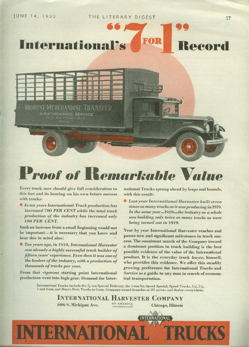 International Truck's 7 for 1 record ad 1930 Midwest Merchandise Transfer