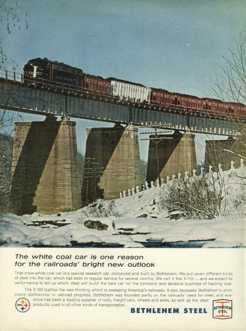 Western Maryland Railroad white coal car of Bethlehem Steel ad 1965 NY