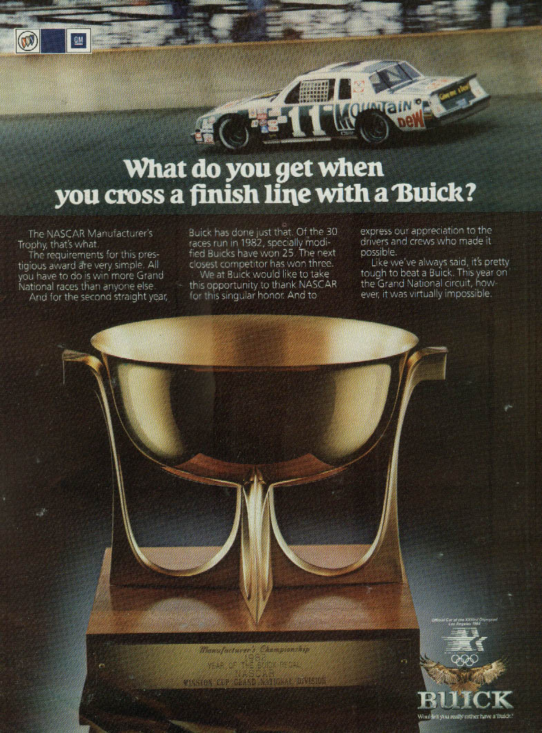 What you get when you cross the finish line in a Buick Regal ad 1983 NASCAR