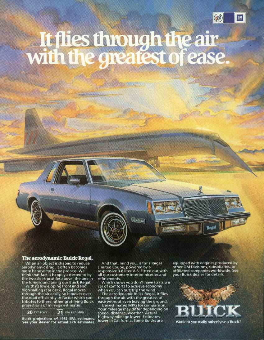 It flies through the air Buick Regal Limited ad 1982 Concorde SST