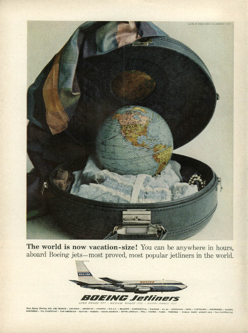 The world is now vacation-size! Boeing 707 Jetliner ad 1963 NY