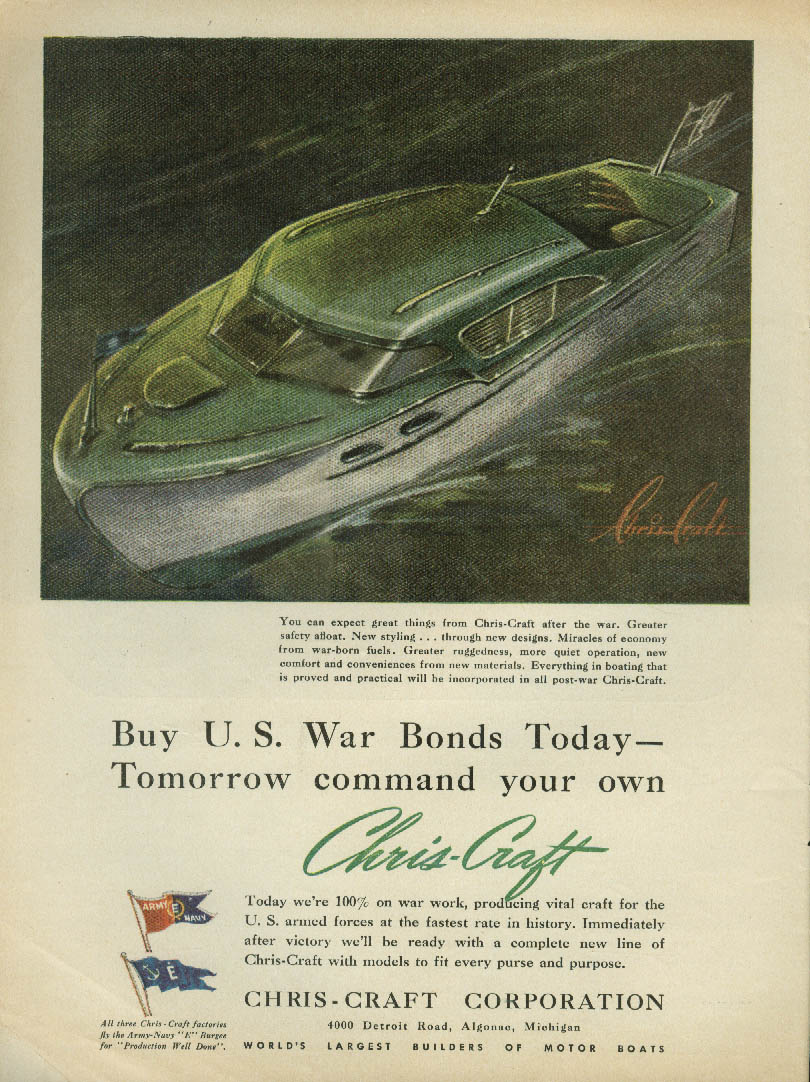 Buy U S War Bonds Today Command your own Chris-Craft tomorrow ad 1943 USN