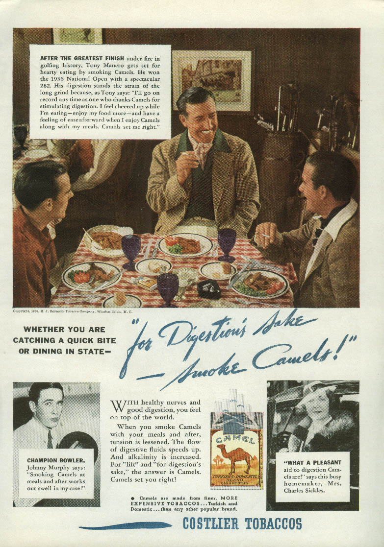 US Open Champ Tony Manero for Camel Cigarettes ad 1936 bowler Johny Murphy