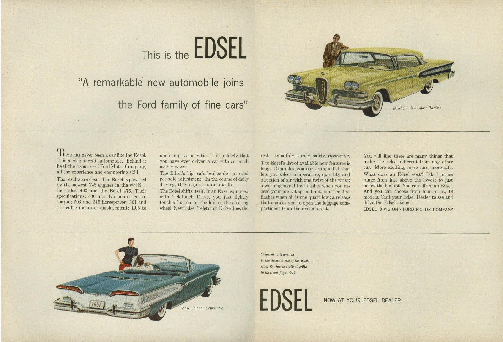 A remarkable new automobile - the Edsel Citation 4dr HT & Convertible ad 1958  T