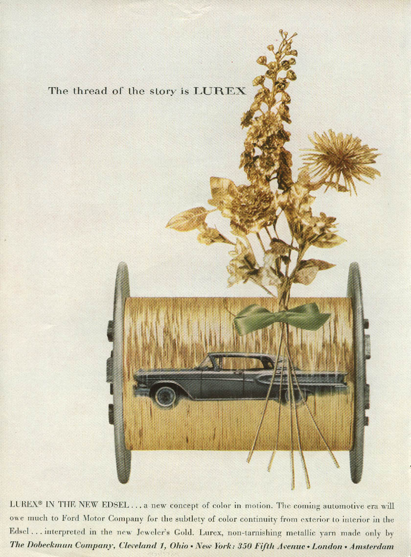 A car for the man whose taste is sure Edsel Citation / Lurex Unholstery ad 1958