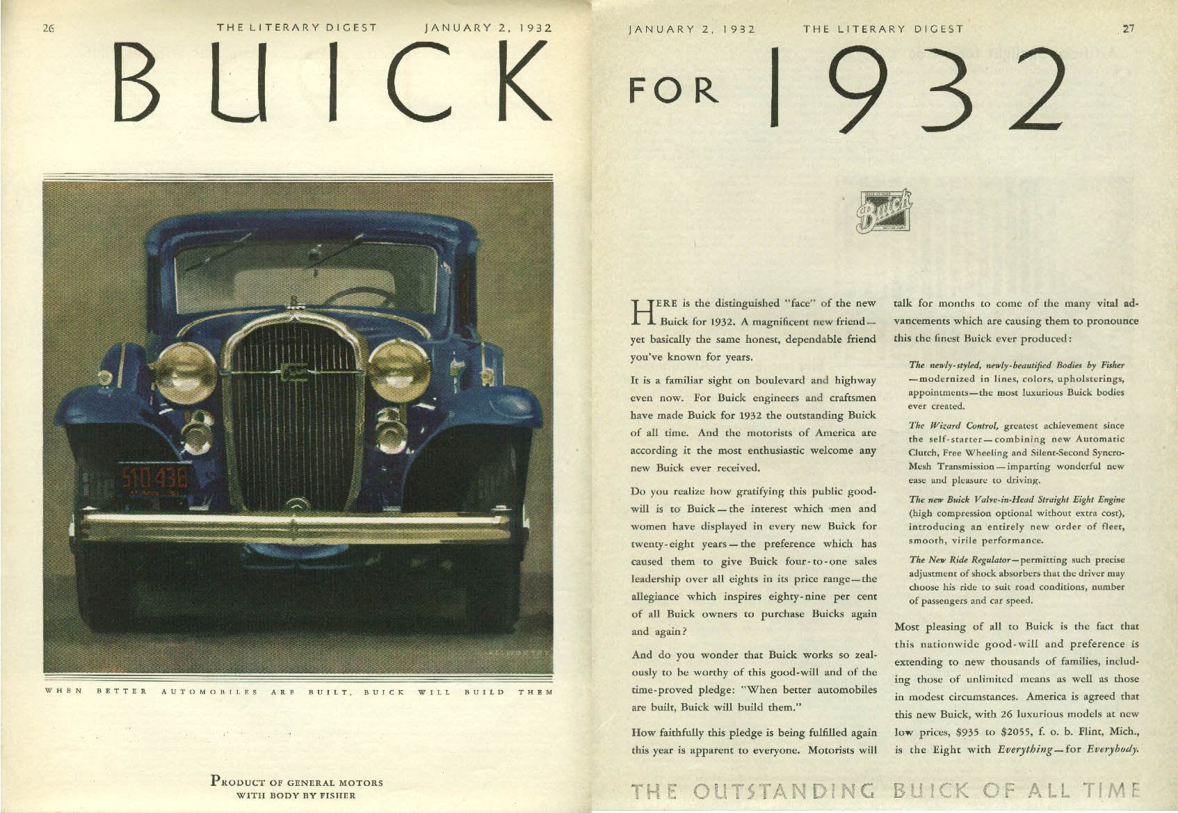 The distinguished face of the new Buick for 1932 ad LD
