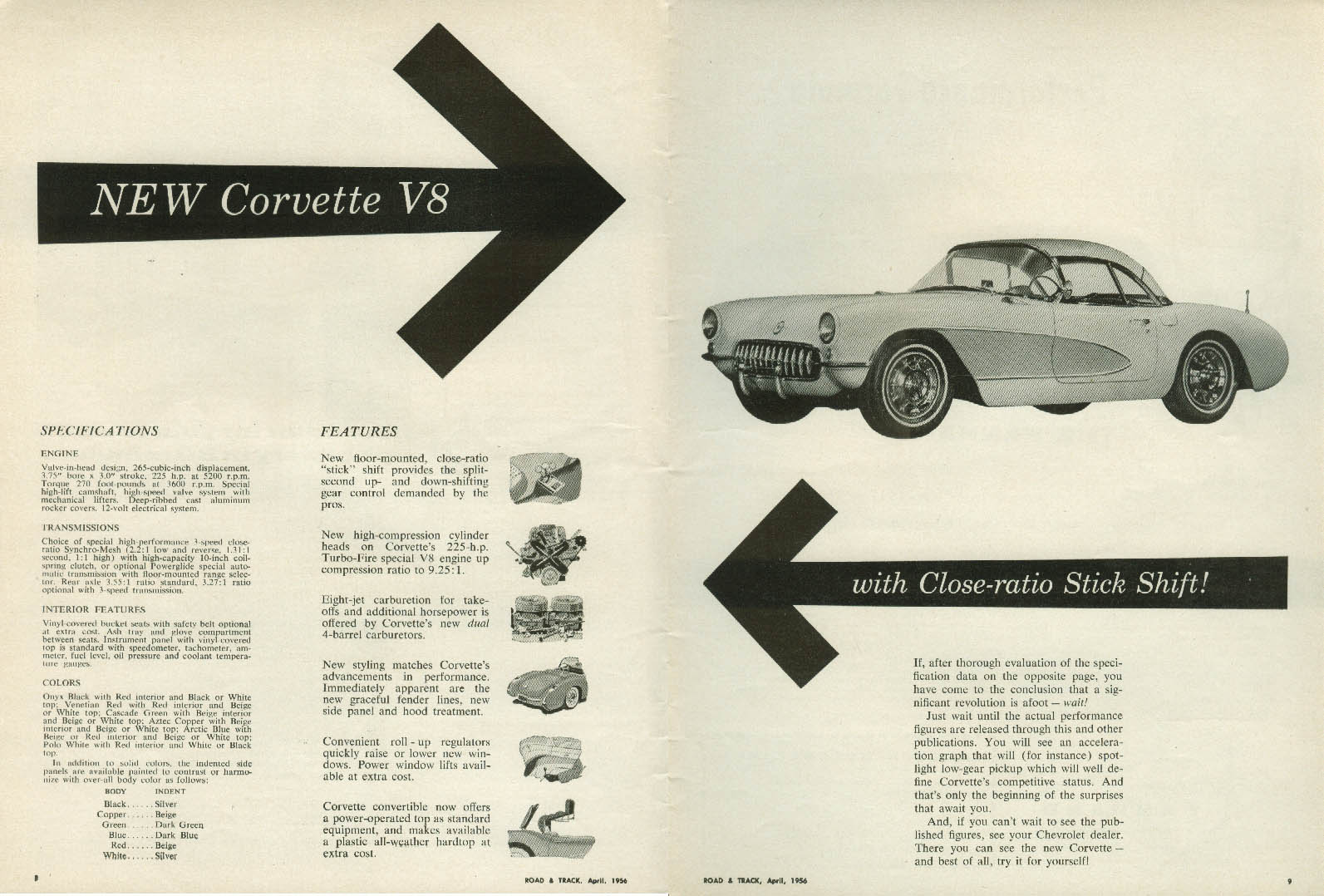 New Corvette V8 with Close-ratio Stick Shift! Ad 1956 Chevrolet