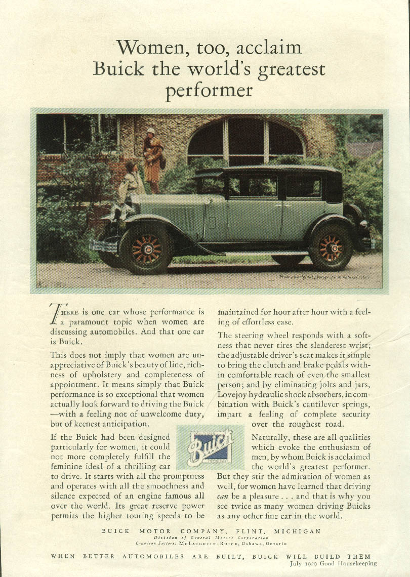 Women, too, acclaim Buick the world's greatest performer ad 1929 GH