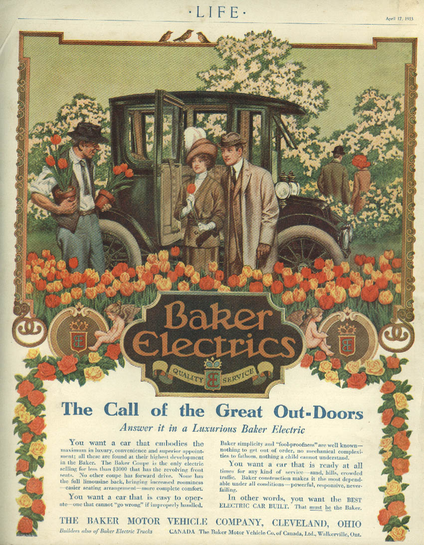The Call of the Great Out-Doors Baker Electric Automobile ad 1913 tulip nursery
