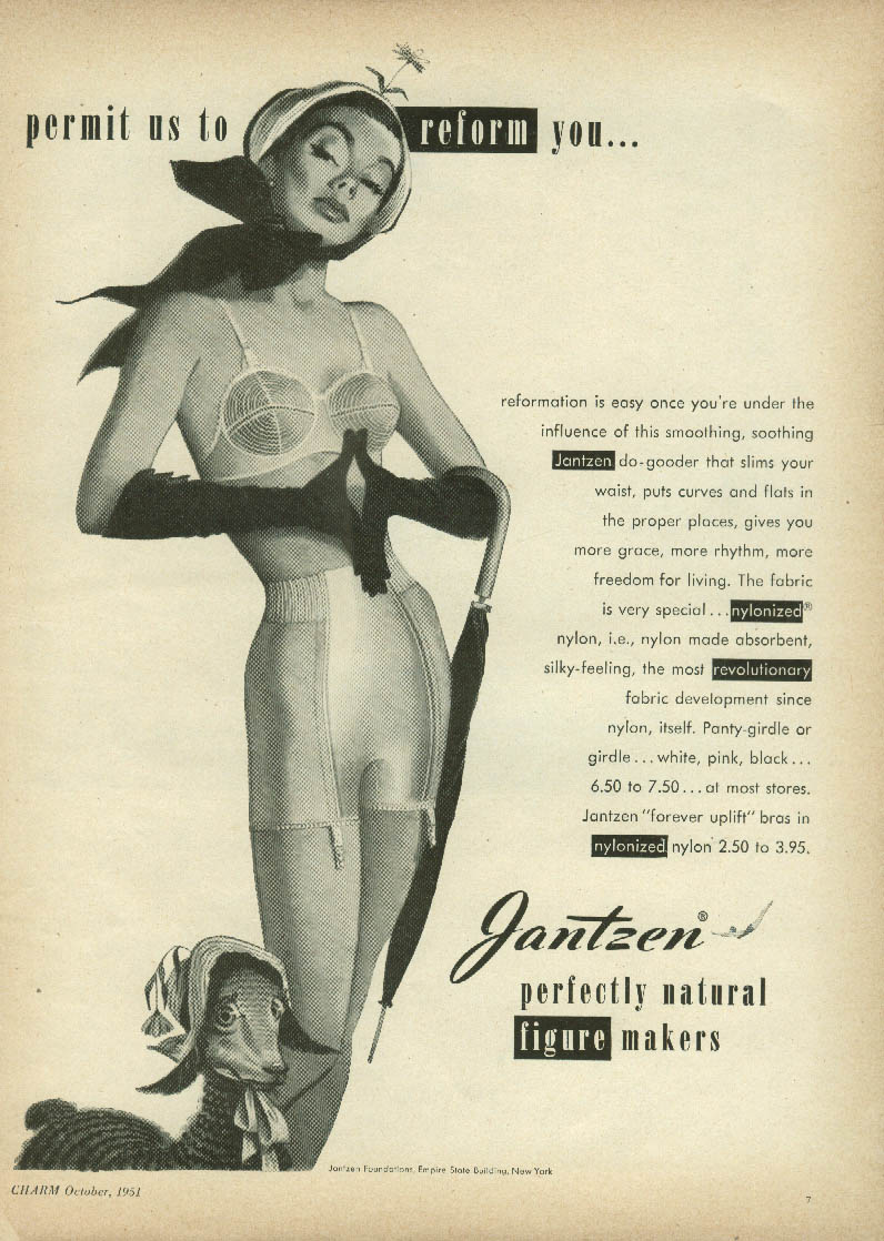 Permit us to reform you Jantzen bra & panty girdle ad 1951 Pete Hawley pin-up