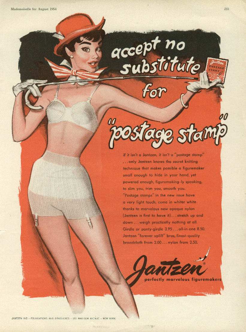 Accept no substitute for Jantzen Postage Stamp bra & panty girdle ad 1954 Hawley