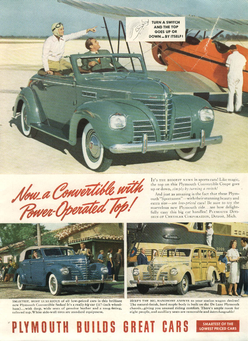Convertible with Power-Operated Top Plymouth Wagon Convertible Sedan ad 1939 NY