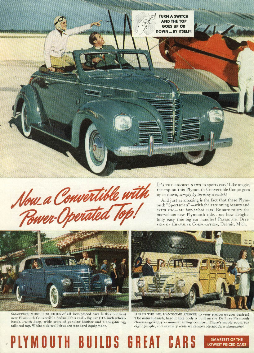 Convertible with Power-Operated Top Plymouth Wagon Convertible Sedan ad 1939 T