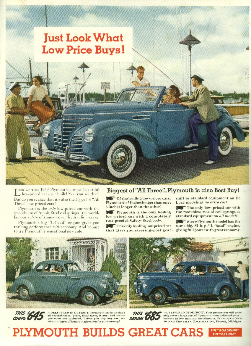 Look what Low Price Buys! Plymouth Convertible Coupe & Two-door Sedan ad 1939 NY