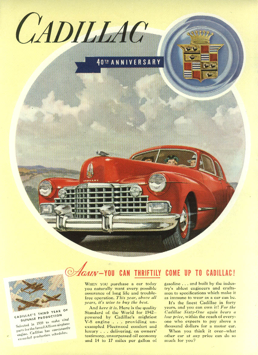 Again you can thriftily come up to Cadillac ad 1942 NY