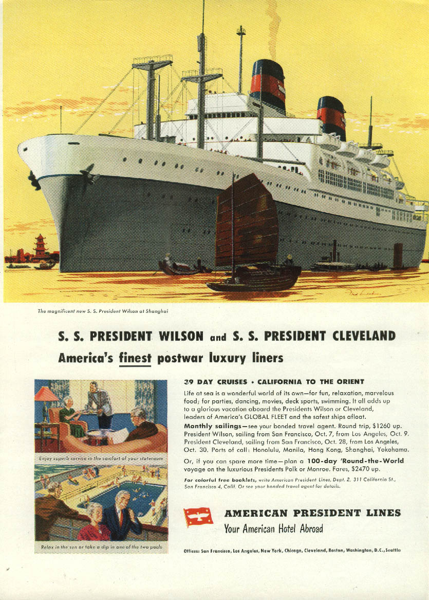 American President Lines S S Wilson & Cleveland ocean liners ad 1948 Ny