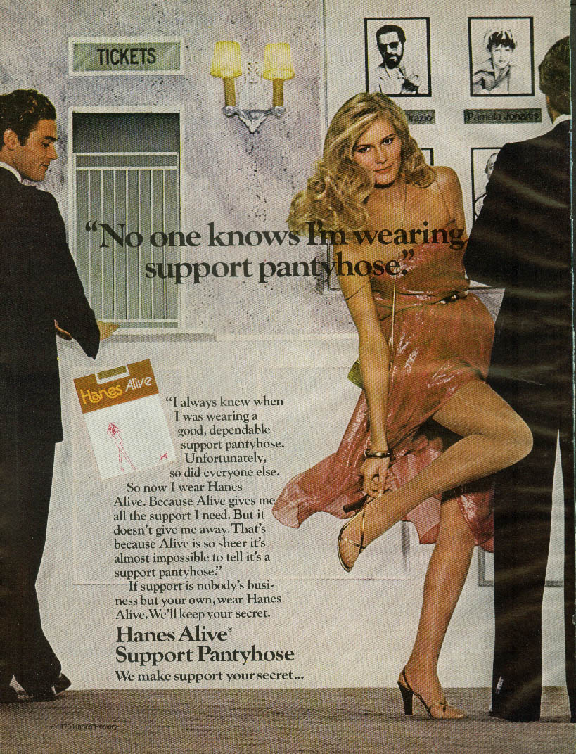No one knows I'm wearing Hanes Alive Support Pantyhose ad 1979 McC