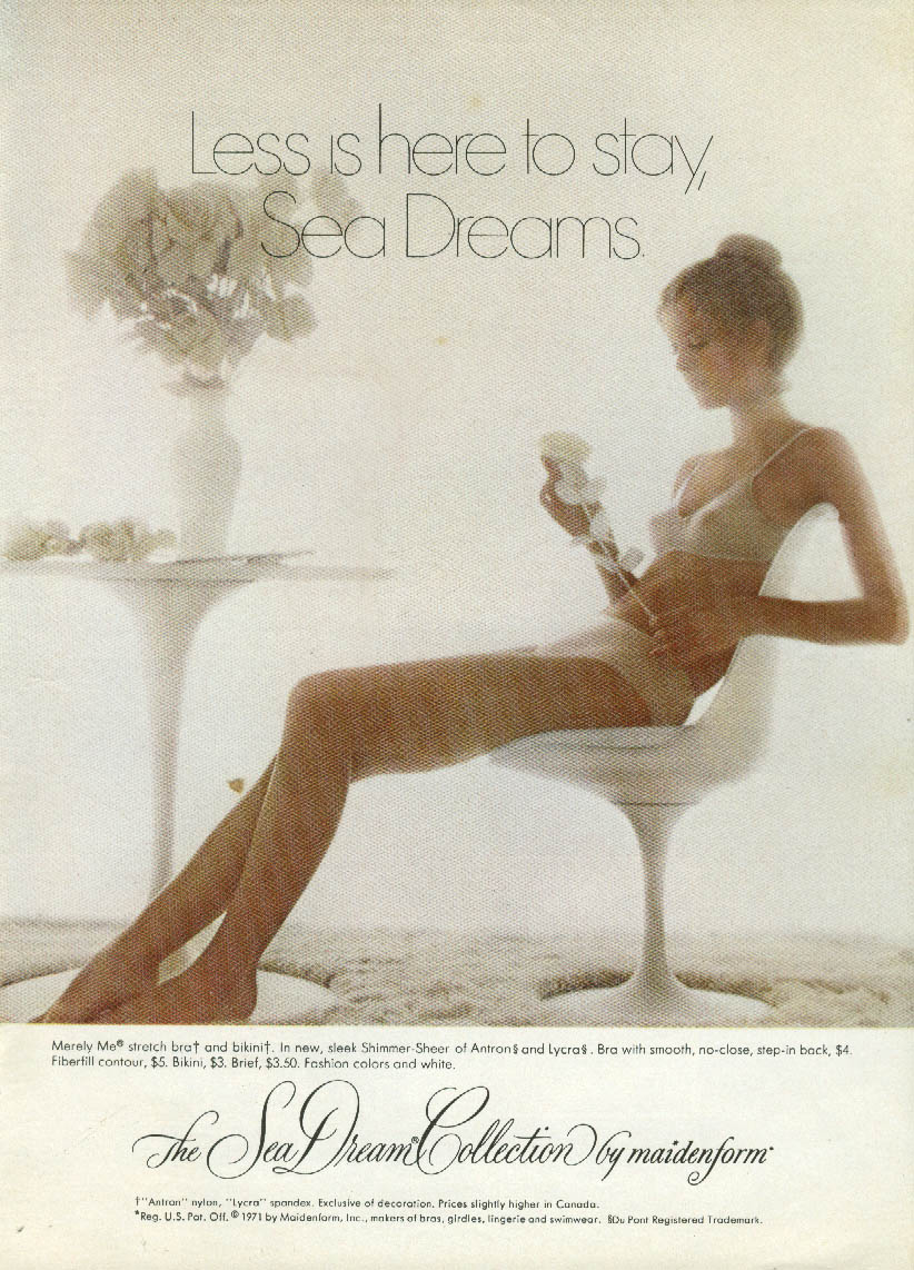 Less is here to stay Maidenform Sea Dream Bra & Panties ad 1971 NY