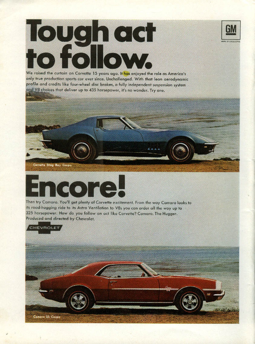 Tough act to follow. Encore! Chevrolet Corvette & Camaro SS ad 1968 NY