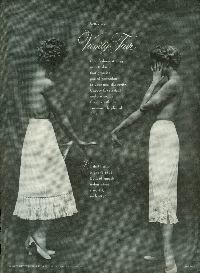 Chic fashion strategy in pettiskirts Vanity Fair ad 1953 topless models