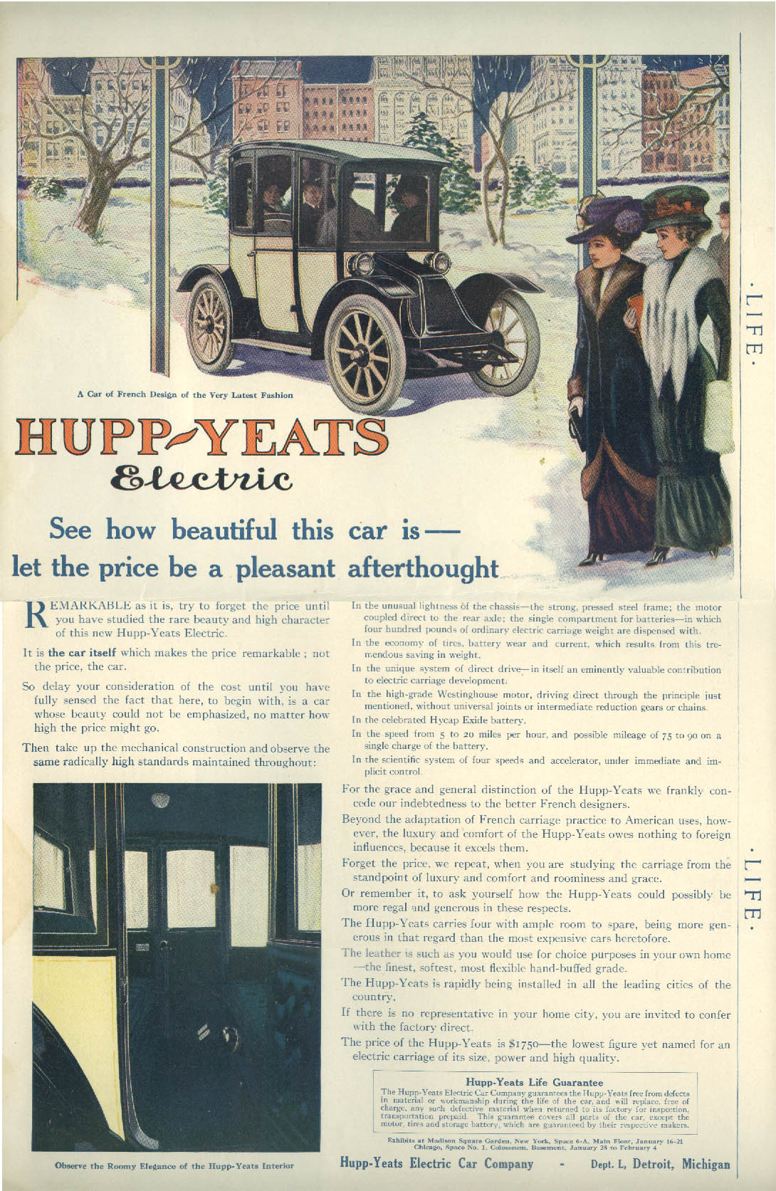 Hupp-Yeats Electric beautiful car / Oldsmobile Car of Today & Tomorrow ad 1911