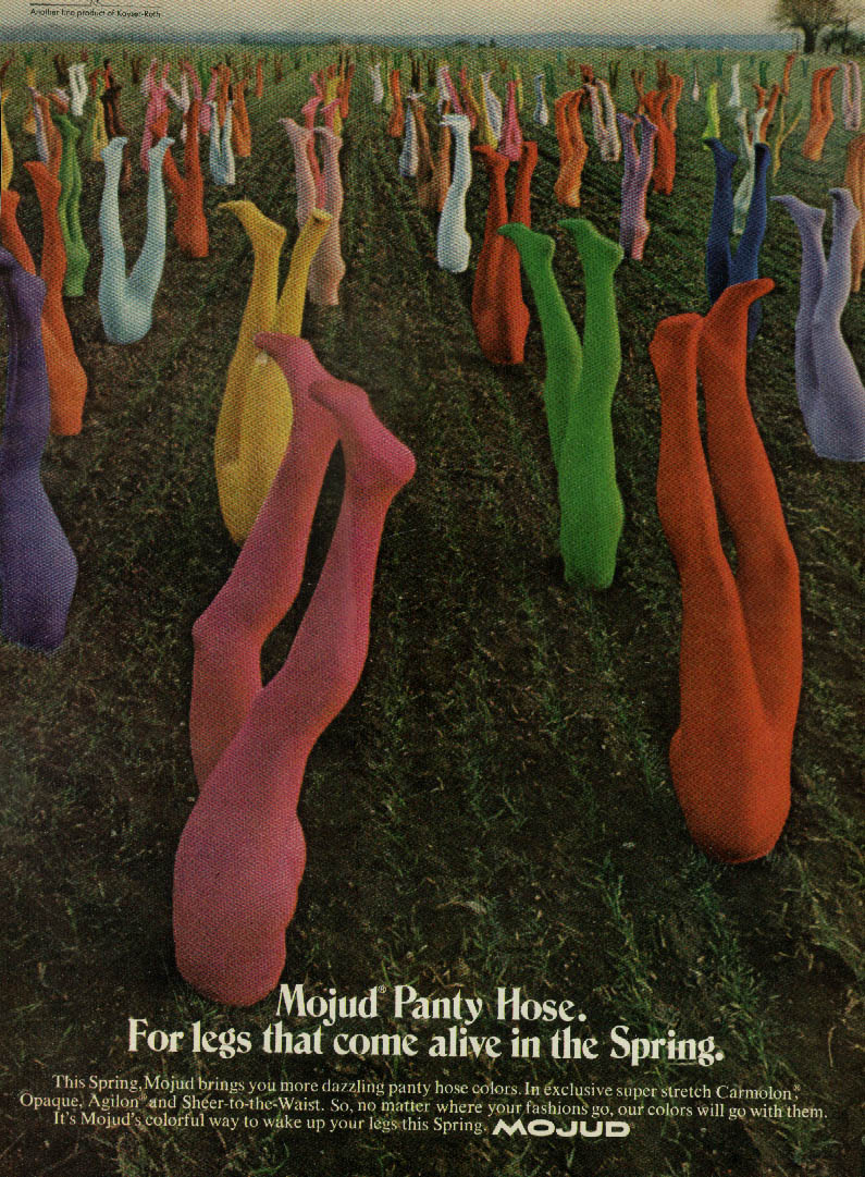 For legs that come alive in the Spring - Mojud Pantyhose ad 1972