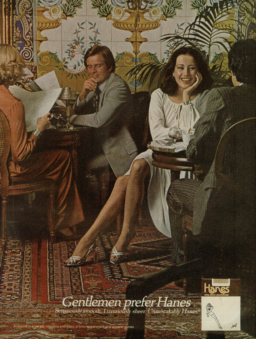 Gentlemen prefer Hanes Pantyhose ad 1976 fancy restaurant