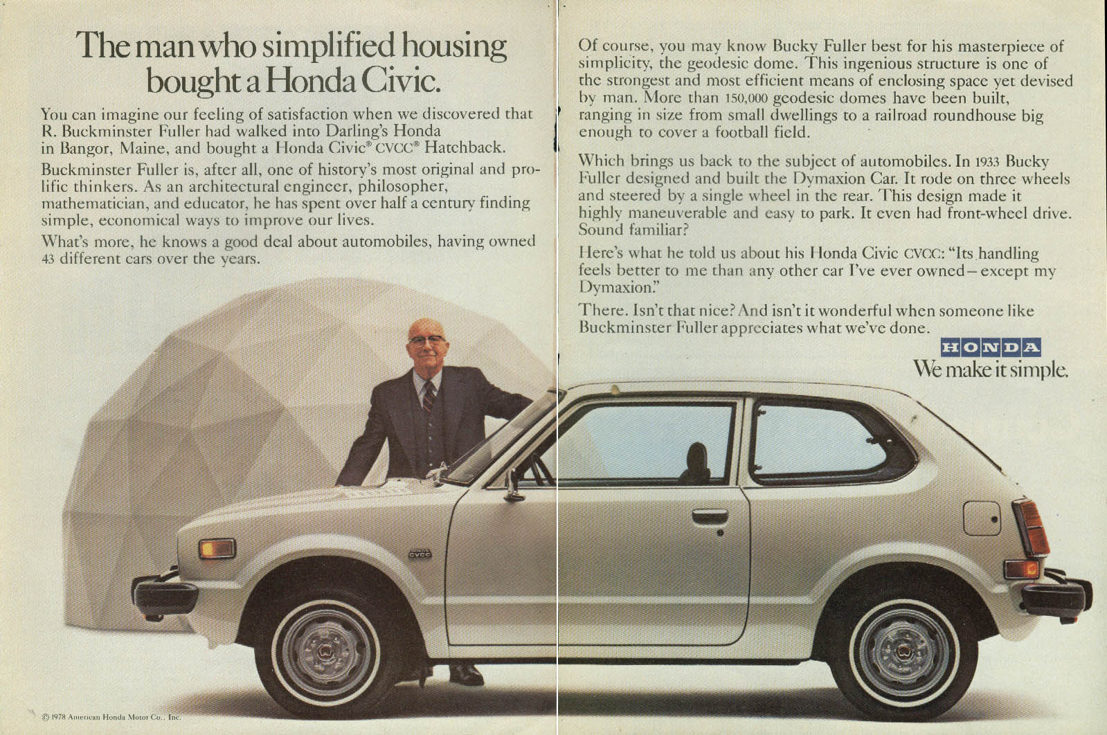 The man who simplified housing bought a Honda Civic ad 1979 Buckminster Fuller