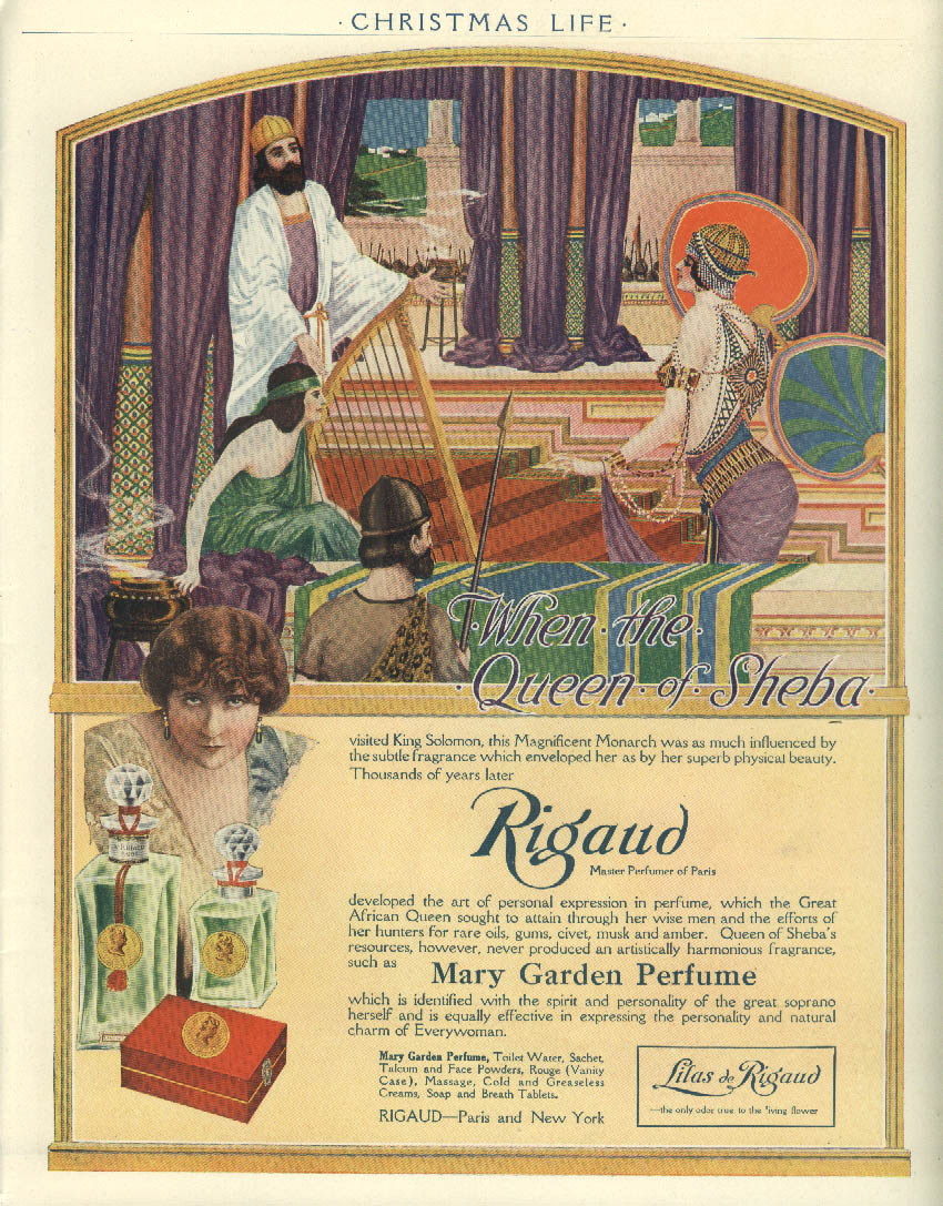 When the Queen of Sheba visited King Solomon Rigaud Perfume ad 1916