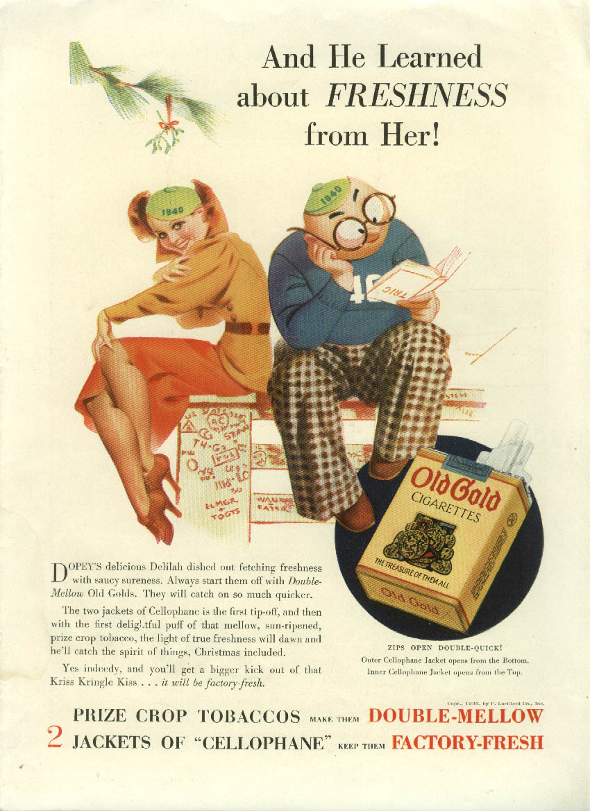 Image for He Learned about Freshness from Her! Old Gold Cigarettes ad 1936 Petty Girl NY