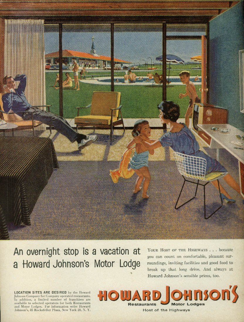 An overnight stop is a vacation Howard Johnson's Motor Lodge ad 1960 T