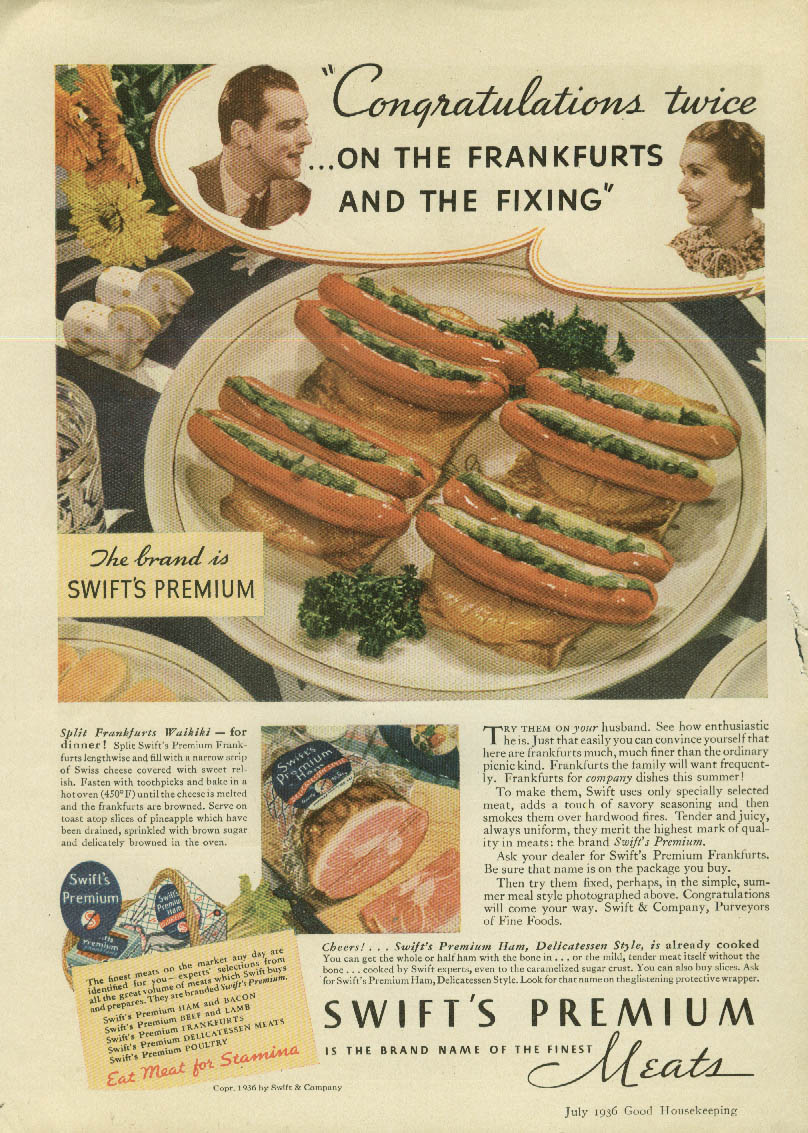 Image for Congratulations twice on the Swift's Premium Frankfurters ad 1936 GH